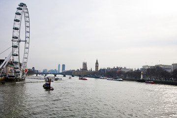 London Eye and Big Ben in London, UK