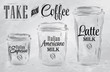 Set of Coffee drinking cup sizes in vintage coal