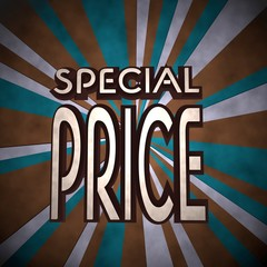 Illustration of a old special price symbol  on retro background