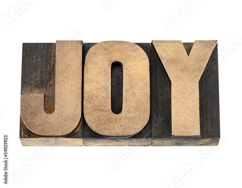 joy word in wood type