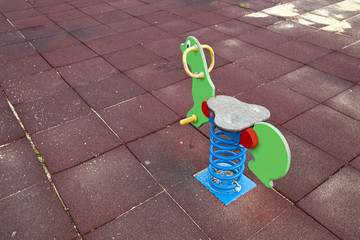 Toy horse in childrens playground, Valencia region, Spain