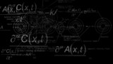 quantum physics background with black and white poster