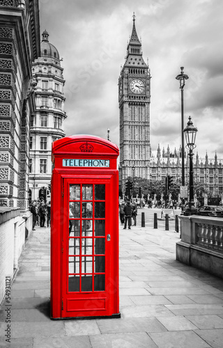 canvas print picture London Telephone Booth