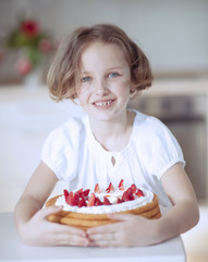 Young girl with cake