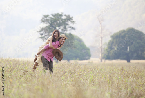 couples of man and woman on out door location with love emotion