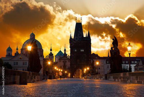 Canvas Praag sunrise over Prague - look from Charles (Karluv) bridge
