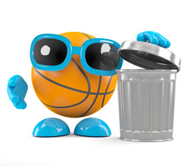 Basketball throws out the rubbish