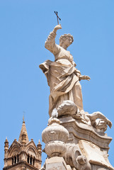 Statue of Santa Rosalia next to the cathedral of Palermo
