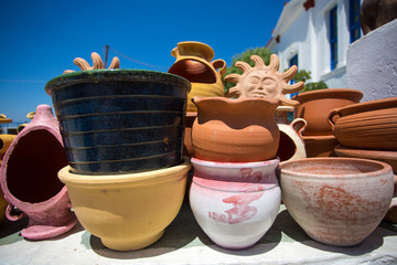 Various ceramic pots and other objects