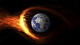 CGI earth hit by solar flare poster