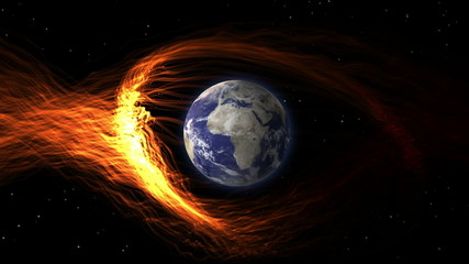 CGI earth hit by solar flare