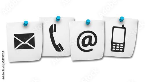 Zdjęcia na płótnie, fototapety, obrazy : Web Contact Us Icons On Post It
