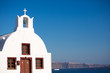 A small church overlooking the caldera in Oia, Santorini.
