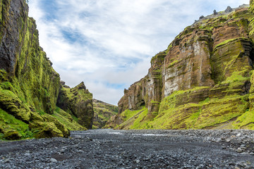 Hiking path through Canyon, Þórsmörk area, Iceland