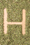 Letter H written with oregano