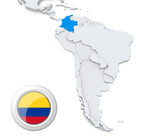 Colombia on a map of South America