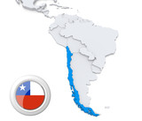 Chile on a map of South America