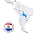 Paraguay on a map of South America