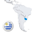 Uruguay on a map of South America