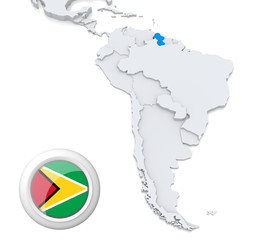 Guyana on a map of South America