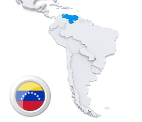 Venezuela on a map of South America