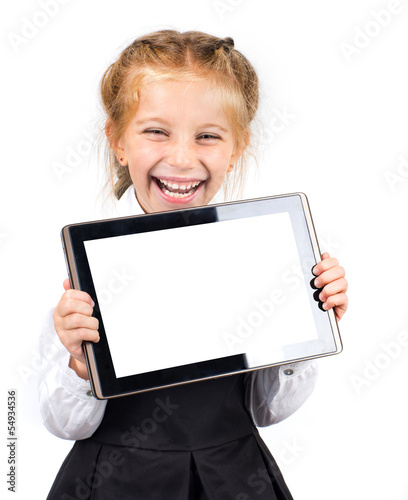 cute schoolgirl with a pc tablet