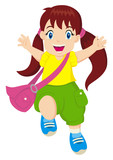 Cartoon illustration of a cheerful little girl