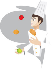 Chef is juggling the food