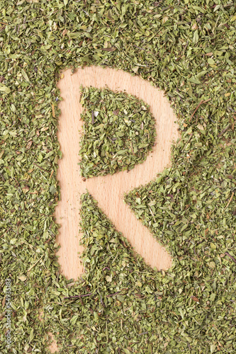 Letter R written with oregano