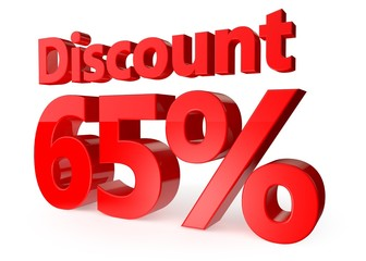 65 percent discount in red letters 3d