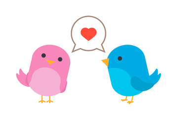 Birds in love with hearth