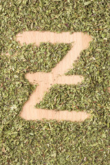 Letter Z written with oregano
