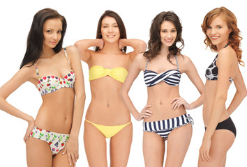 group of model girls in bikinis