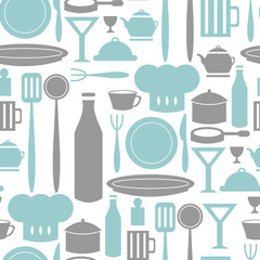 Seamless pattern with various elements kitchen and cooking