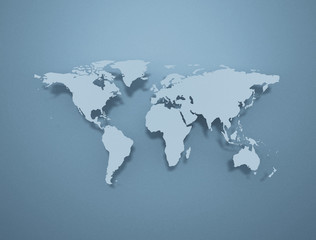 WOrld map 3d illustration