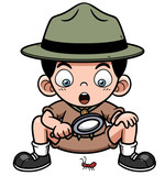 Vector illustration of Boy with magnifying glass