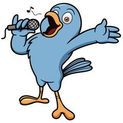 Vector illustration of Cartoon Bird Singing