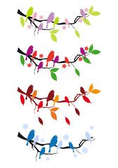 birds on tree in four seasons, vector set