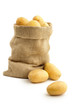 jute sack full of yellow potatoes