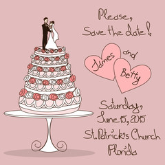 Wedding invitation with cake