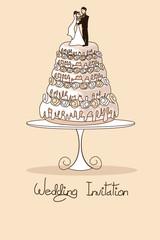 Wedding invitation with cake