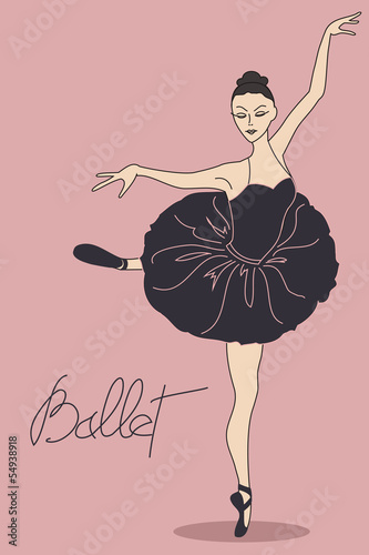 Illustration with ballet dancer