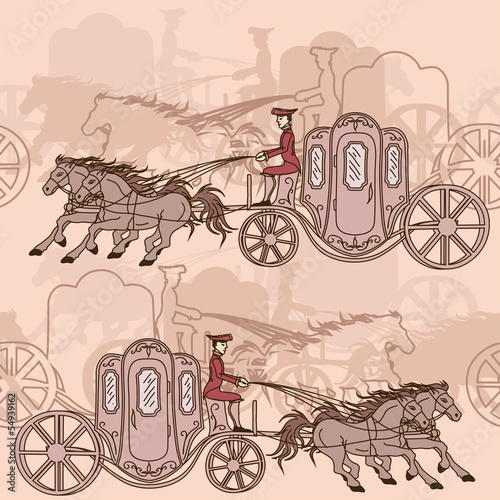 Seamless pattern of horse carriages