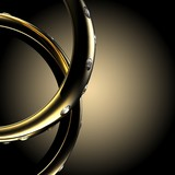 Gold Wedding Ring with diamond. Holiday symbol - 54939907