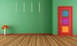 Empty green modern interior with door