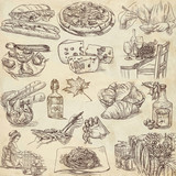 Food and drink around the world - drawings on old paper
