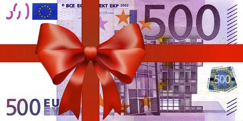 500 Euroschein mit breiten Geschenkband
