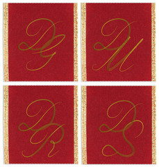 Collection of textile monograms  DG, DM, DR, DS