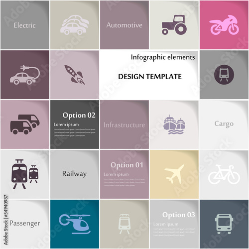Transport icon set vector abstract background