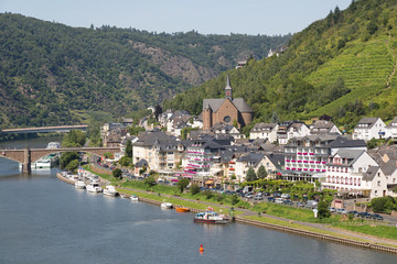 Aerial cityview of Cochem along river Moselle in Germany